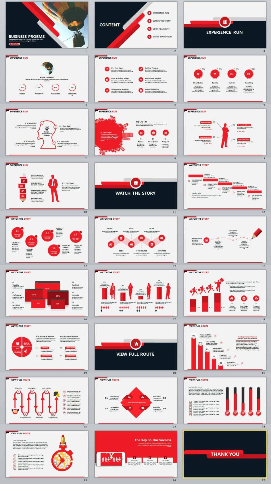 27 red business report professional powerpoint template 2019