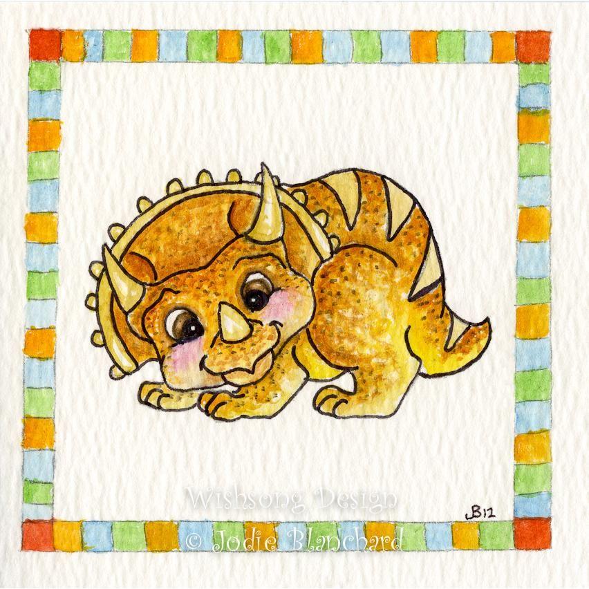 Square 6x6 inch art print dinosaur orange triceratops animal ...