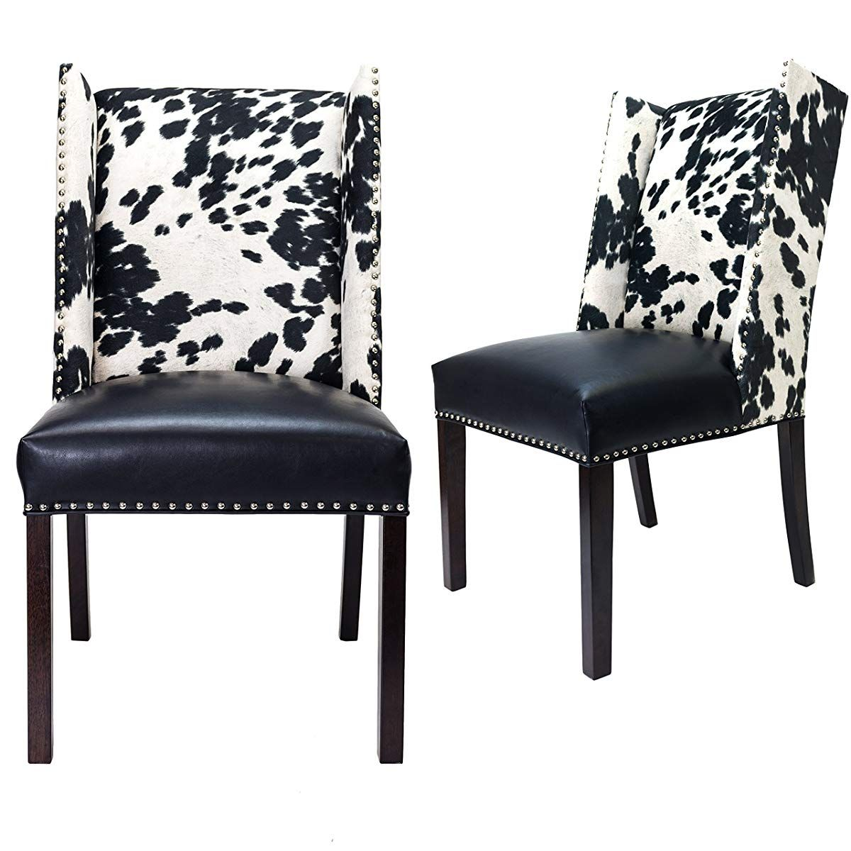 Faux Cowhide Leather And Fabric Upholstered Dining Side Chair Dining Chair Upholstery Dining Chairs Side Chairs Dining