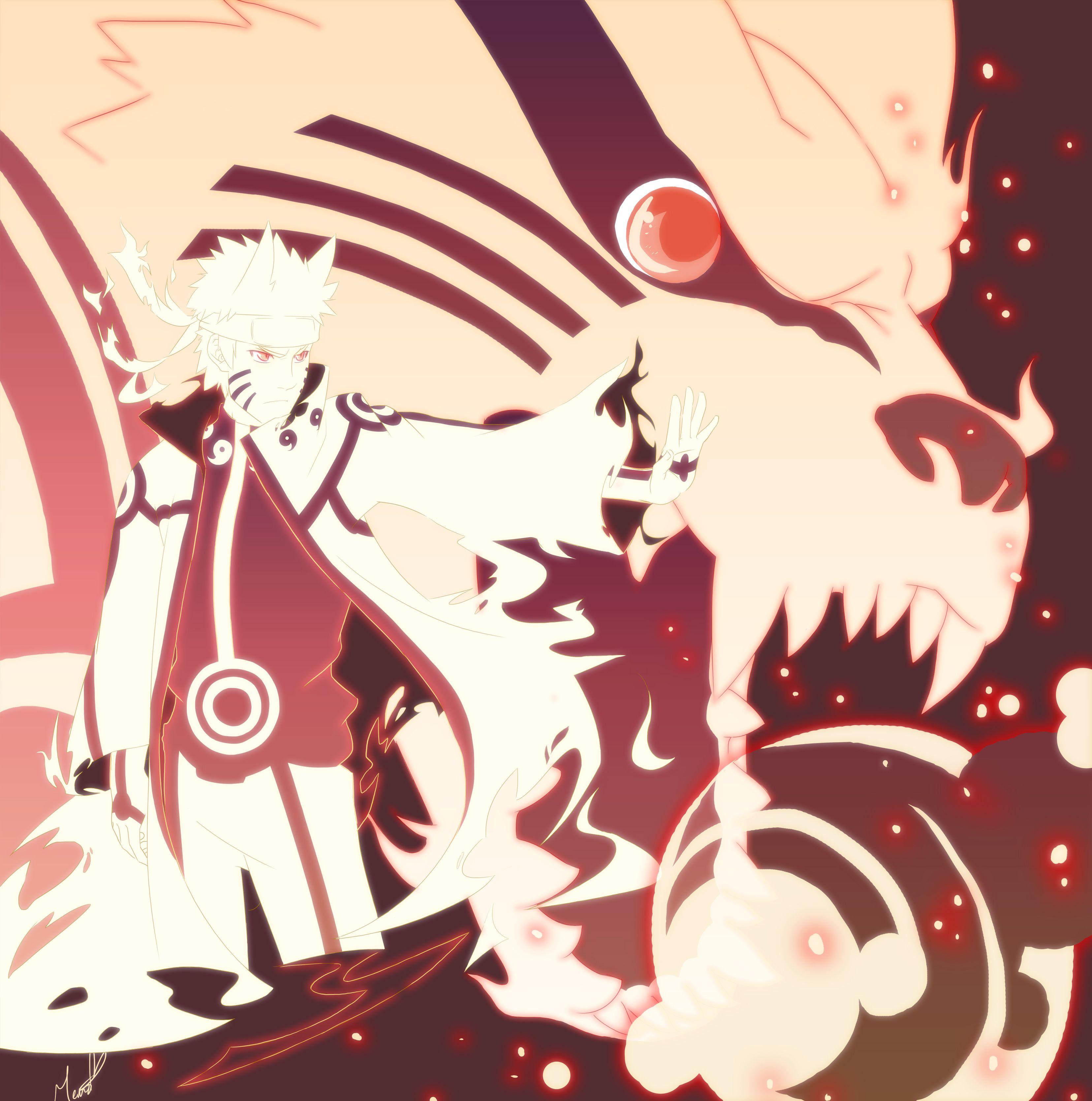 Tailed Beasts Wallpapers: Naruto's Shroud In Tailed Beast Mode With Kurama.