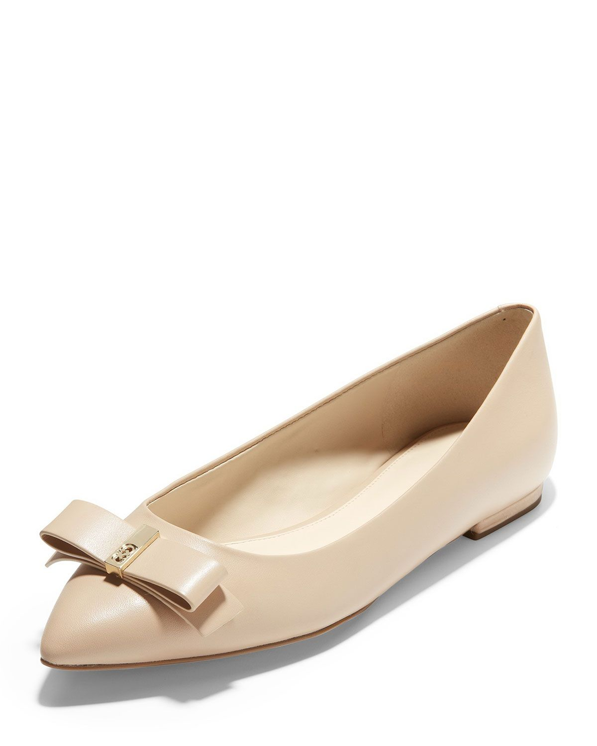 33119b8ca33 COLE HAAN ELSIE BOW LEATHER SKIMMER FLATS, NUDE. #colehaan #shoes ...