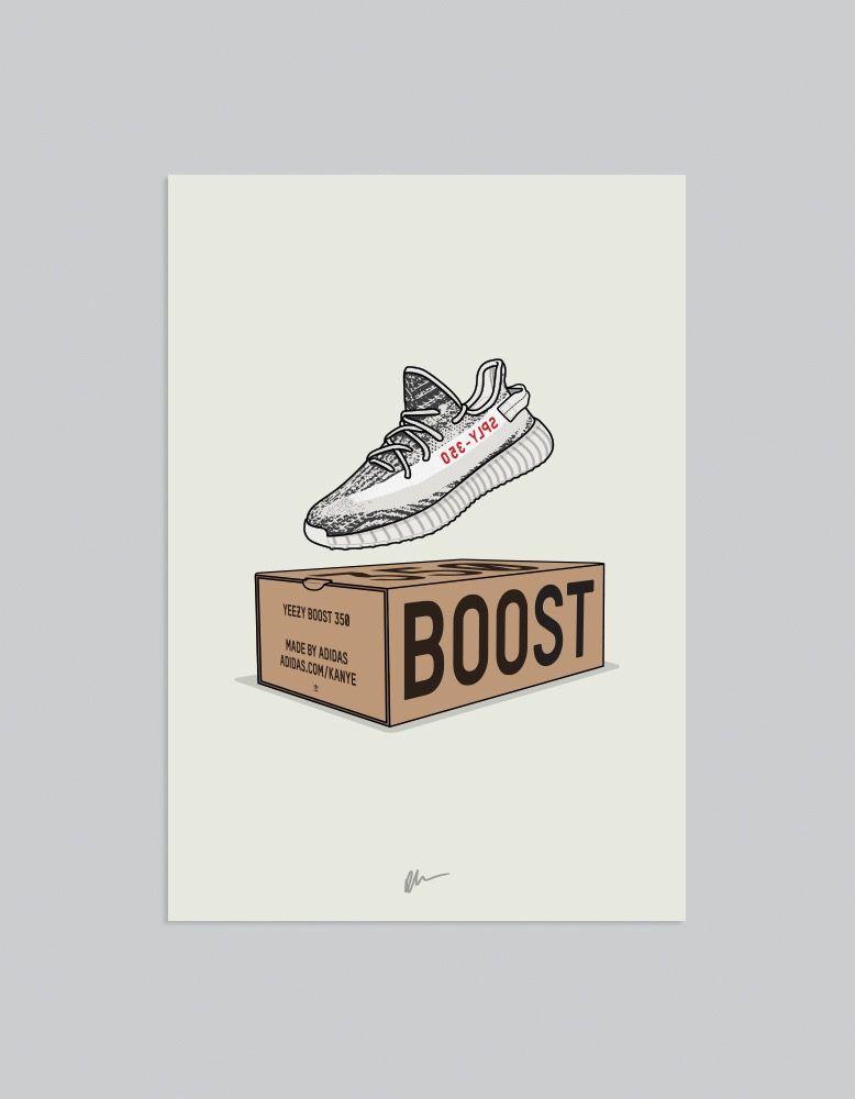 Image Of New Yeezy 350 V2 Zebra Box Sneakers Illustration Yeezy Sneaker Art