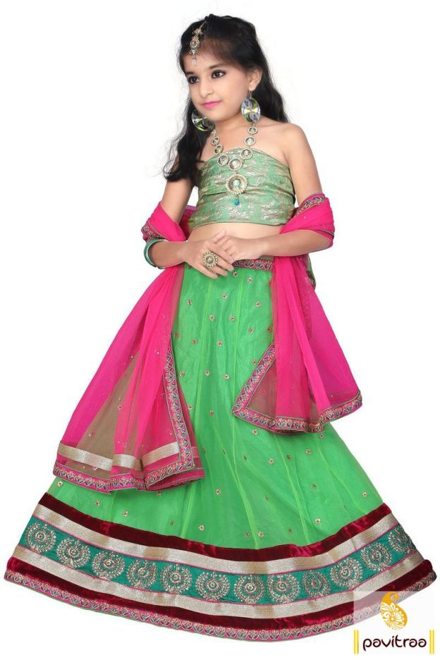 Catch the most beautiful green and pink net kids lehenga choli online for festival. It is graceful with beautiful border on lehenga. Shop it now with COD and free shipping in India. #kidgirllehengacholi, #babychaniyacholi, #babynavratrichaniyacholi, #babyghaghracholi, #girllehengastyle, #discountoffer, #pavitraafashion, #utsavfashion, #kidswearshopping http://www.pavitraa.in/store/kids/ callus:+91-7698234040