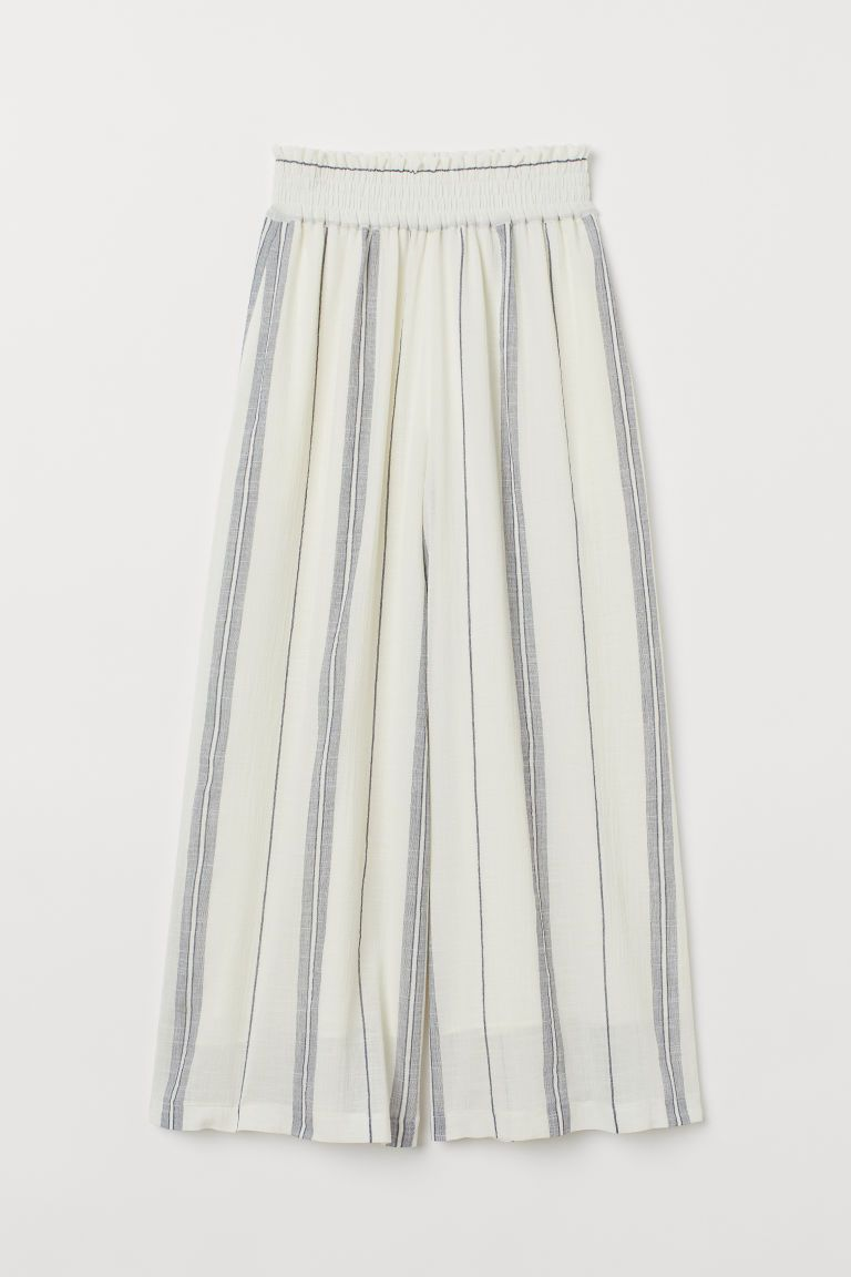 Photo of Wide-cut Pull-on Pants – White/blue striped – Ladies | H&M US