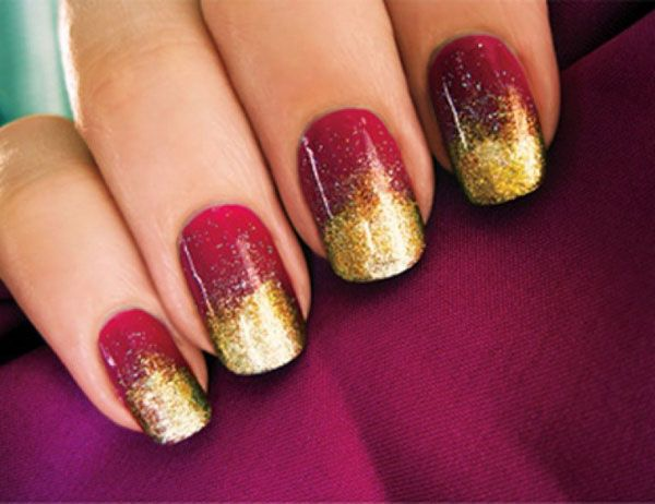 Uñas rojo y dorado , Red nails design