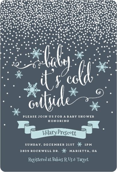 Winter Snowfall Baby Shower Invitations By Inviteshop.com.  #winterbabyshowerideas #winterwonderlandideas #babyshowerinvitations