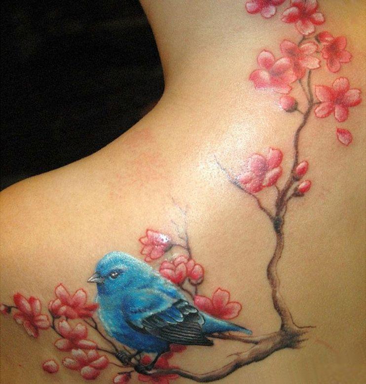 ca5c8950f Cherry Blossom Flowers And Blue Bird Tattoo | Bird Tattoo On ...