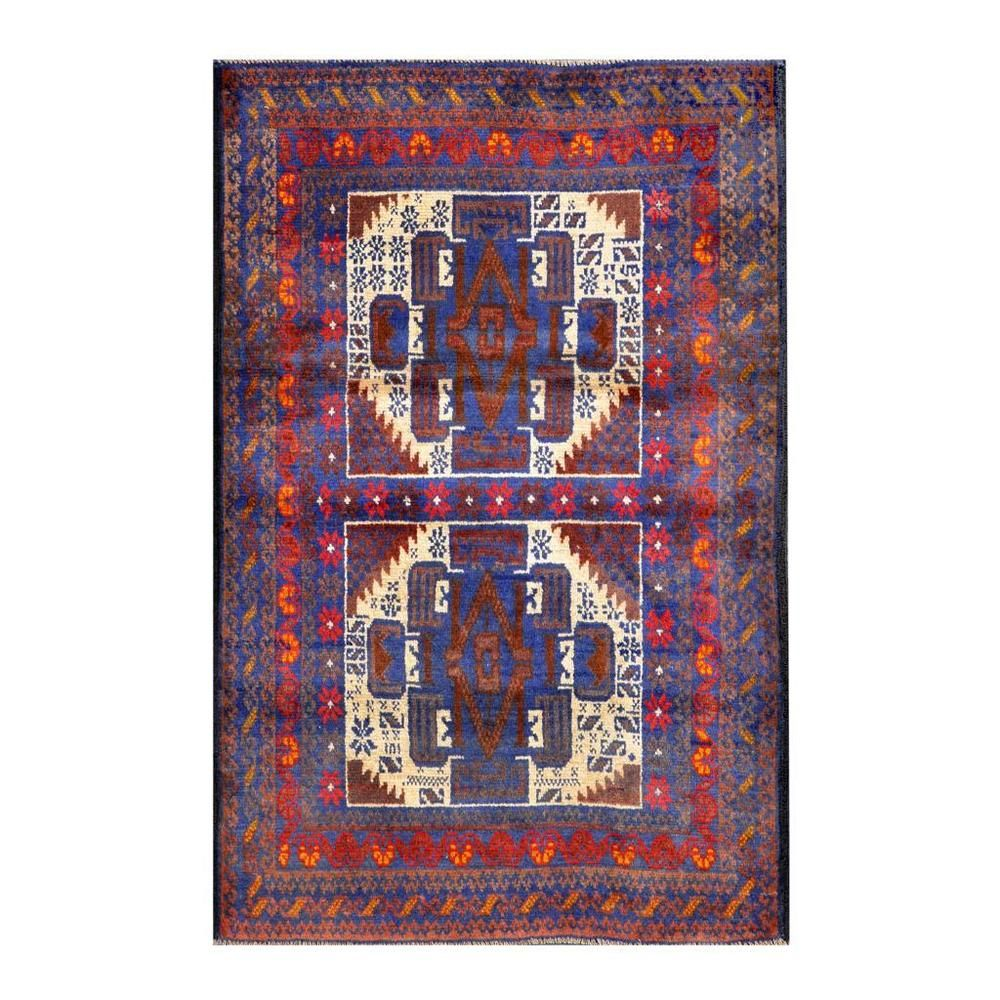 Herat Oriental Afghan Hand-knotted Tribal Balouchi Blue/ Ivory Wool Rug (2'9 x 4'3) - Overstock™ Shopping - Big Discounts on Herat Oriental Accent Rugs