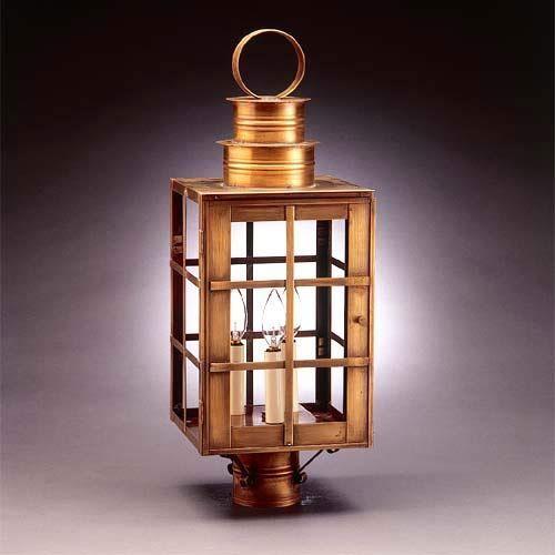 Large dark brass h bars post mount lantern with seedy marine glass northeast lantern