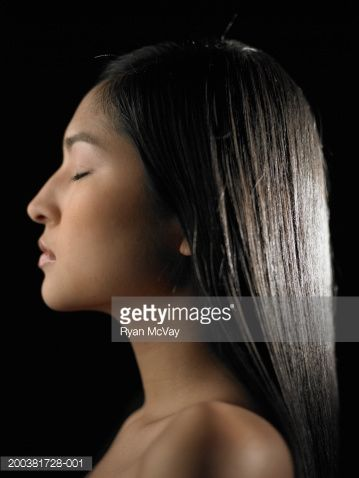 Young woman with eyes closed, profile | Native american ...