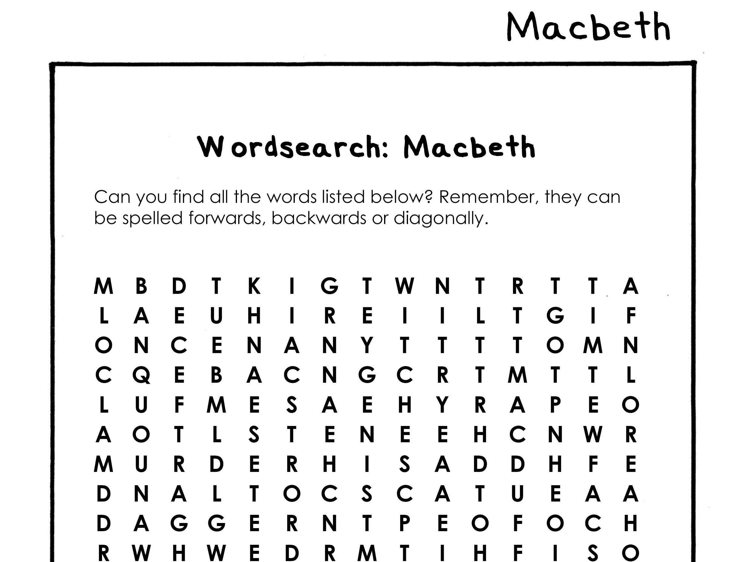 Macbeth Wordsearch