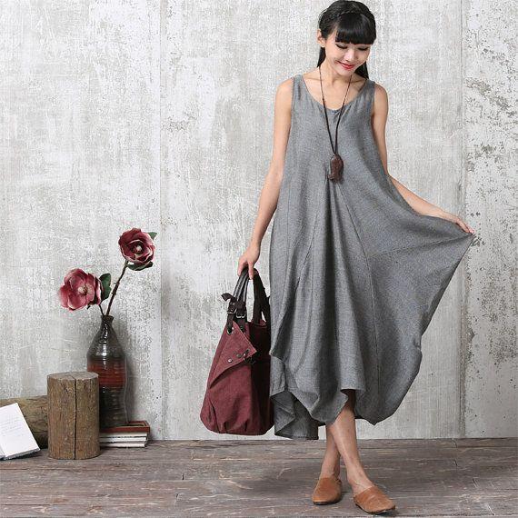 Lässig, locker sitzende Short Sleeved Leinen Mischung langes Kleid ...