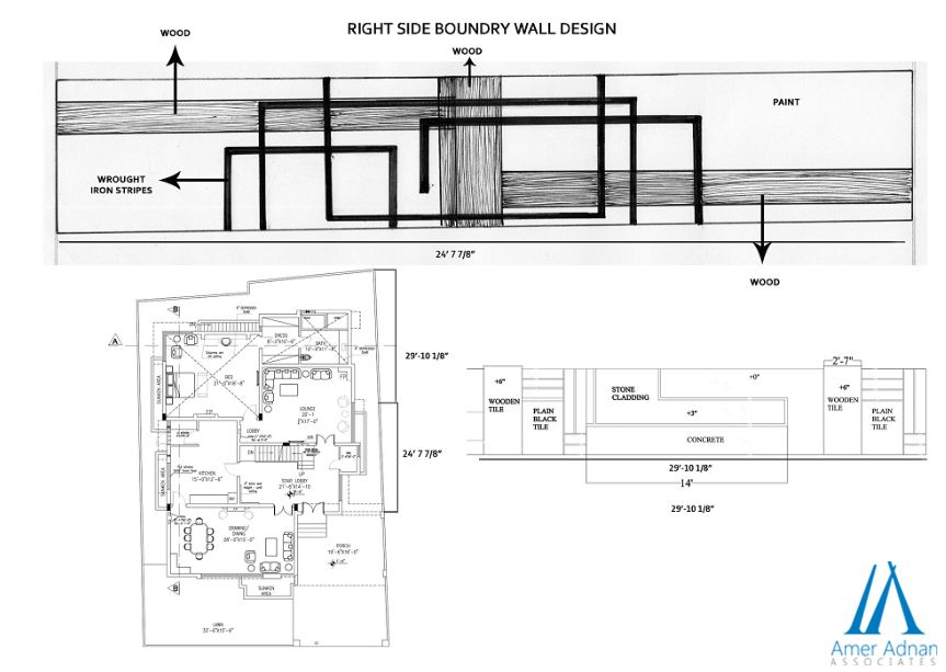 Recently Designed Boundary Wall Sketch Work by Architect at AAA