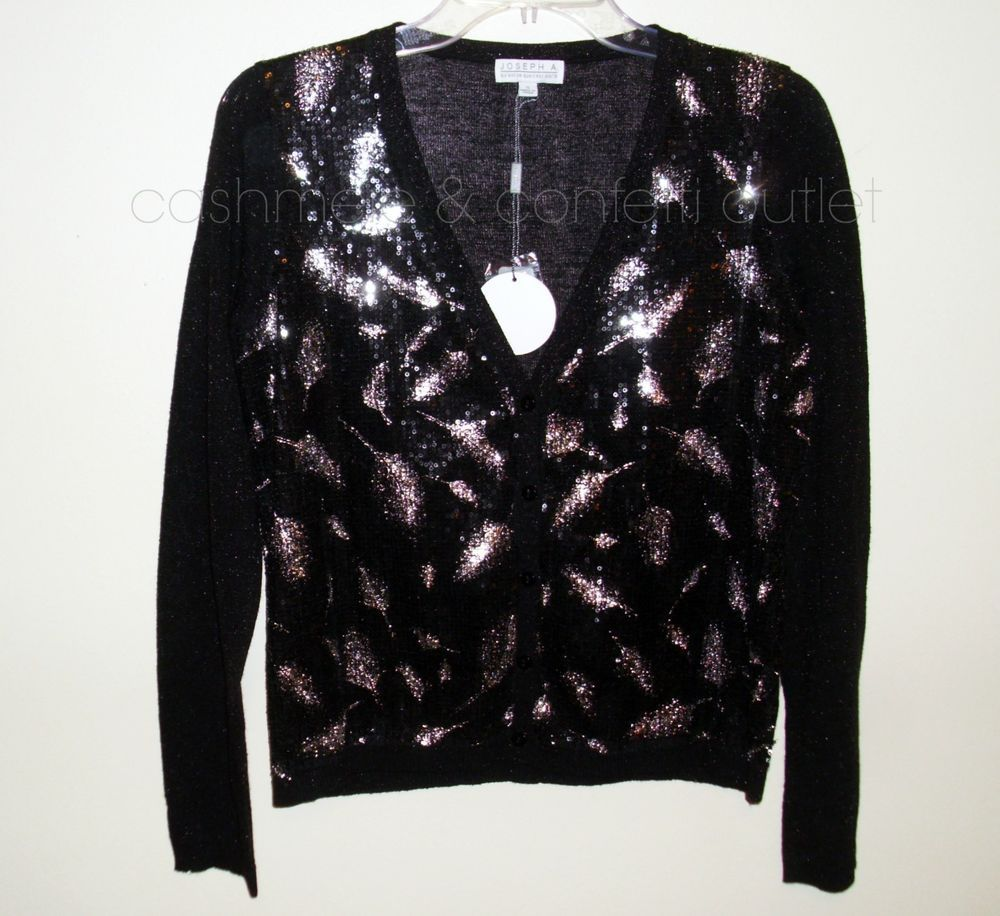 Joseph A NEW Cardigan Sweater Top Black Metallic Silver Sequin ...