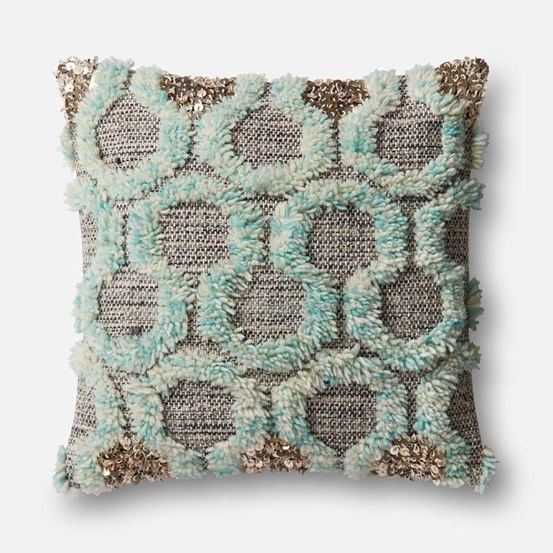 Justina Blakeney Aja Teal Accent Wall: Loloi Justina Blakeney Pillow - Teal/Grey