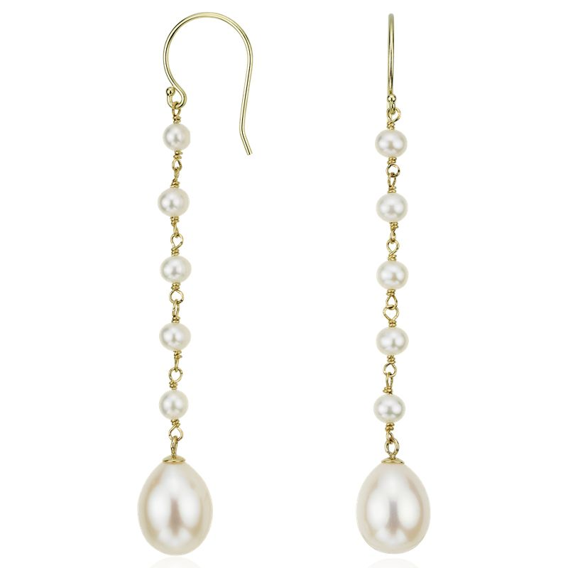 Freshwater Cultured Pearl Drop Earrings 14k Yellow Gold
