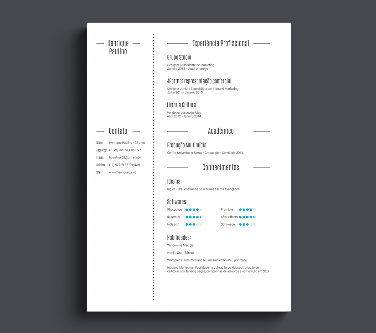 Currculo  Free Download Template On Behance  Curriculos
