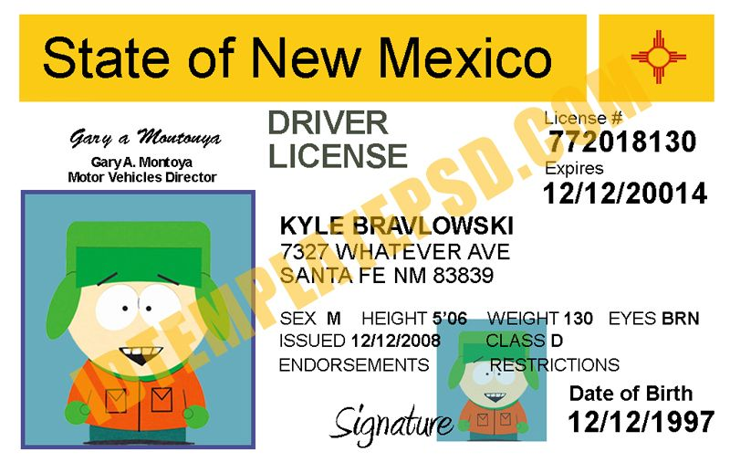 This is New Mexico (USA State) Drivers License PSD (Photoshop ...