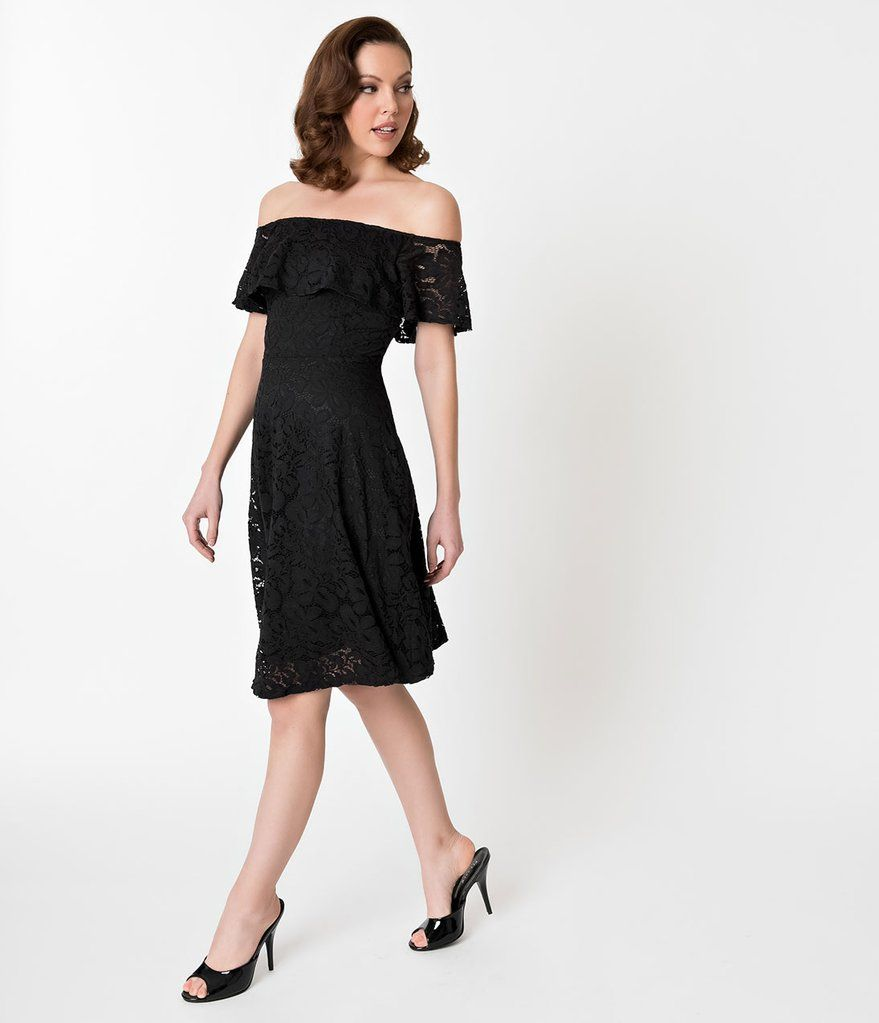 63482913e8 Black Lace Off Shoulder Ruffle Cocktail Swing Dress