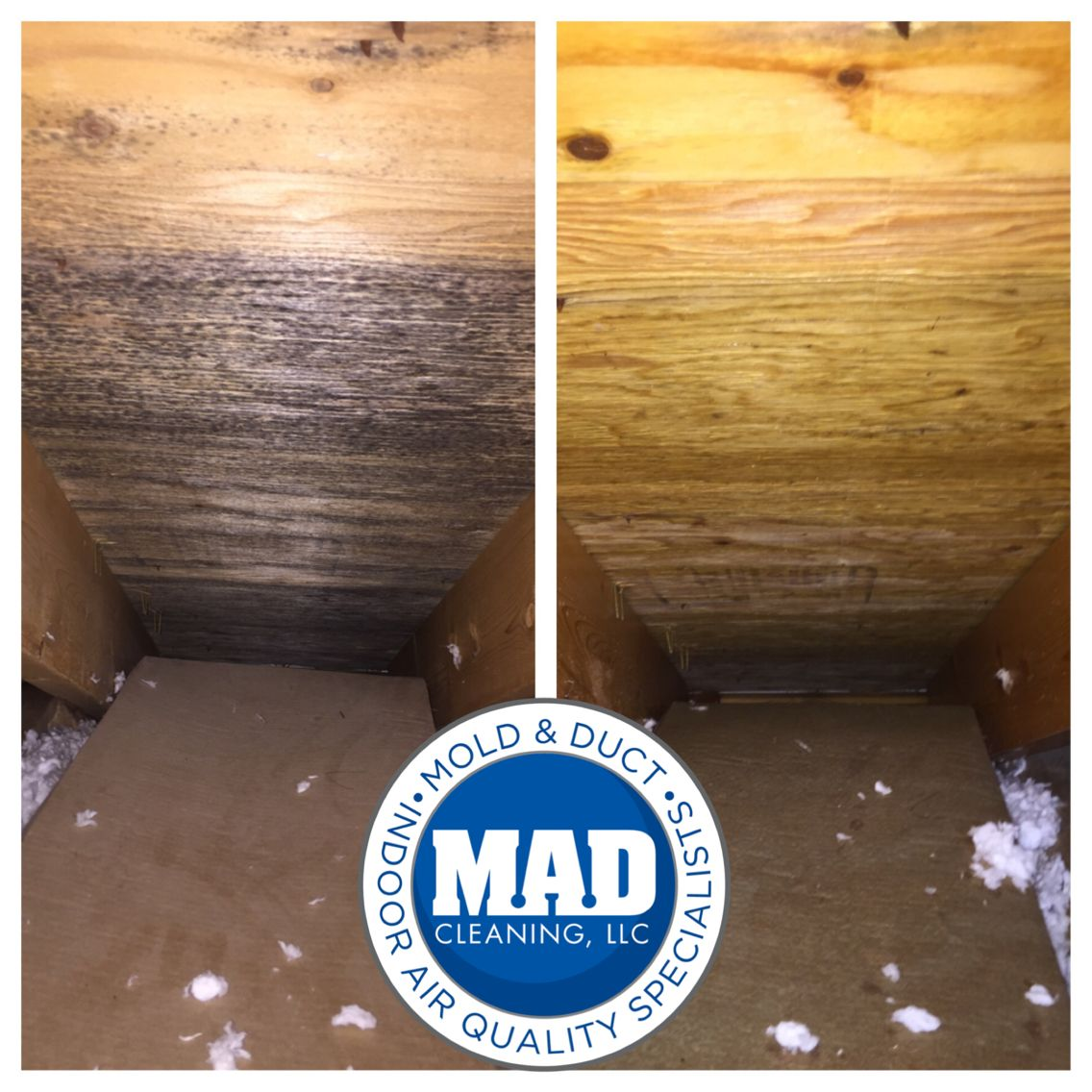 Attic mold removal before & after pics. Mold remover