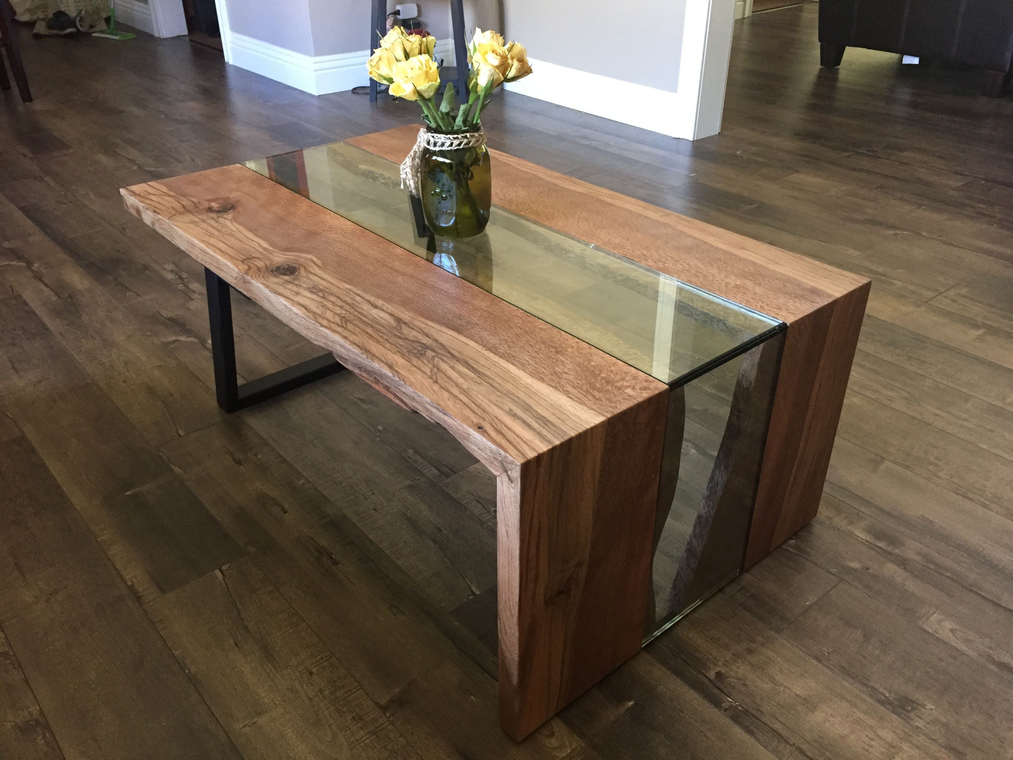 Live edge waterfall coffee table solid black oak steel and