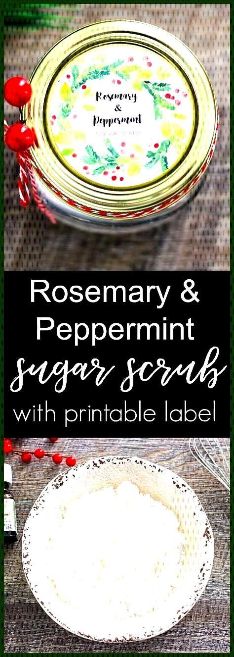 Rosemary and Peppermint Sugar Scrub Homemade Rosemary and Peppermint Sugar Scrub recipe with free p