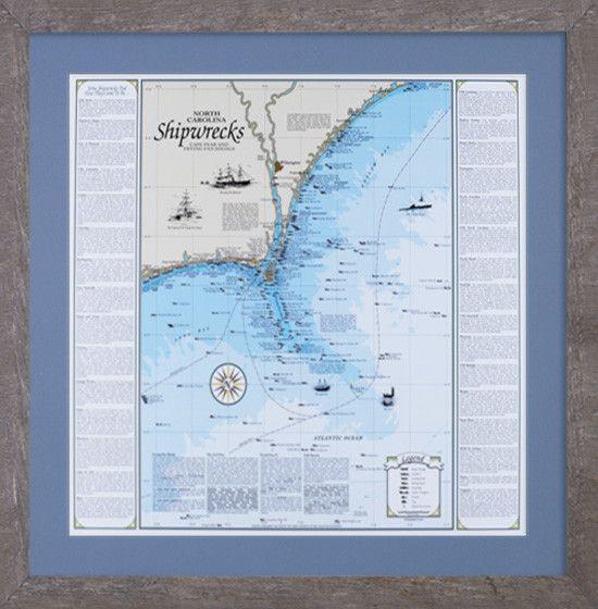 Framed North Carolina Shipwreck Chart Cape Fear And Frying Pan Shoals Cape Fear Driftwood Frame Shipwreck