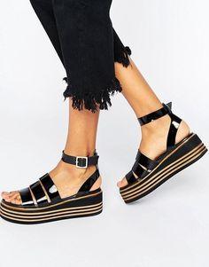TreasuredShoes Tiras Gruesas Cuero De Sandalias eE2IWDH9bY