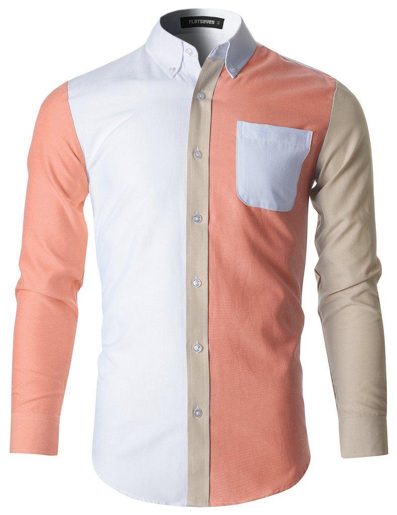 Green dress shirt mens Mens Button Down Contrast Cotton Dress Shirt SH in