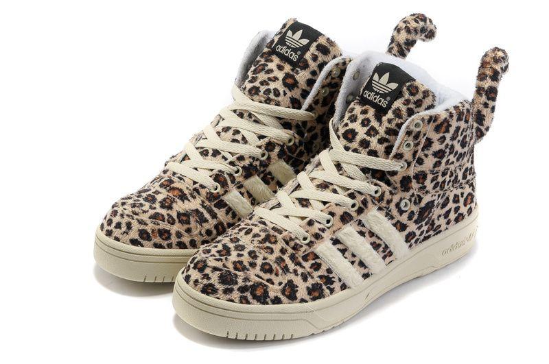 Jeremy Scott x Adidas Original Hairy Leopard Tail High-Top shoes