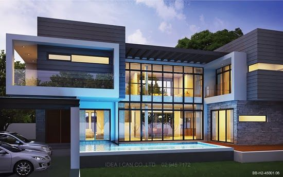 Modern Style 2 Story Home Plans for construction in thai, Living ...