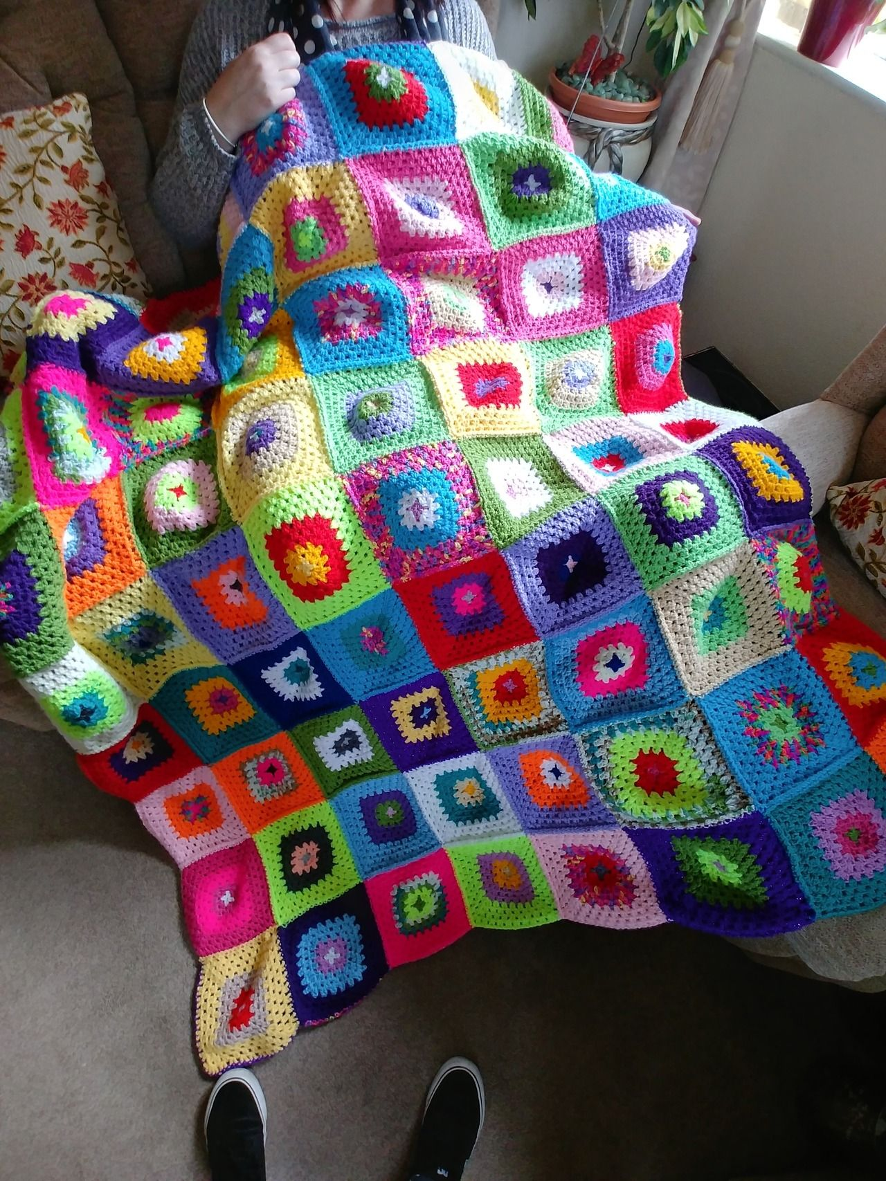 A beautiful crochet blanket made by my great aunt, I need her to show me her magic. - #blanket #colourful #cosy #crafts #crochet #handmade #knitting