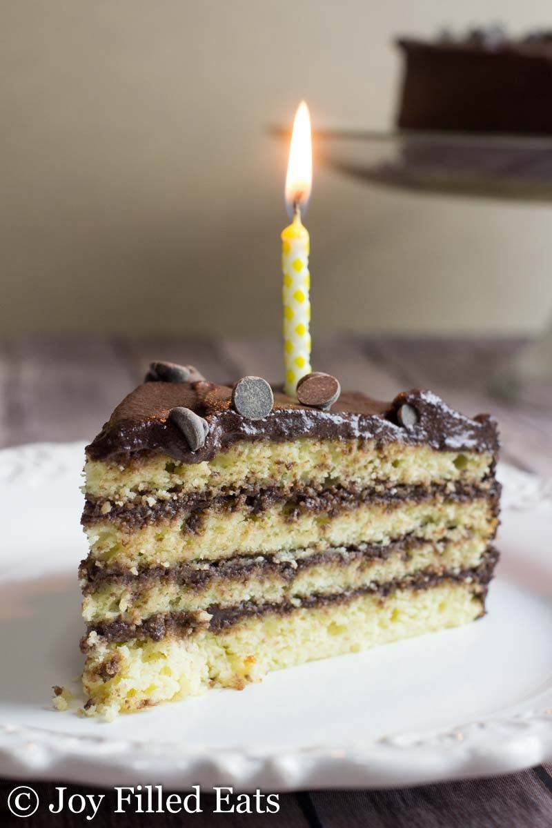 Classic Yellow Birthday Cake with Chocolate Icing Low Carb Gluten