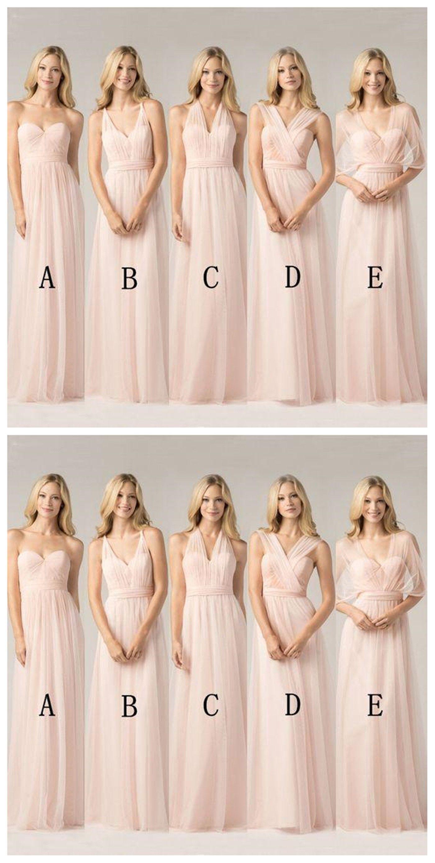 Long Chiffon Blush Pink Convertible Bridesmaid Dresses Custom 2018 Gown Wg151
