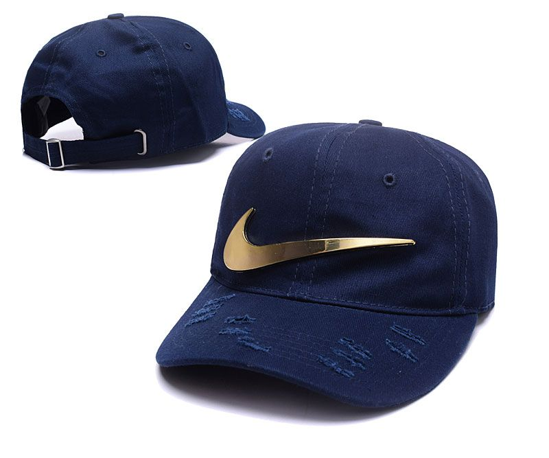 994a3e1aef7 Men s   Women s Nike Big Swoosh Gold Metal Logo Distressed Curved Dad Hat -  Navy