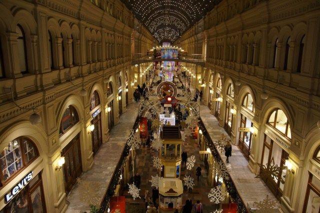 Rhe GUM Einkaufszentrum in Moskau ist ein absolutes Muß, was zu tun, wenn Sie auf dem Roten Platz sind