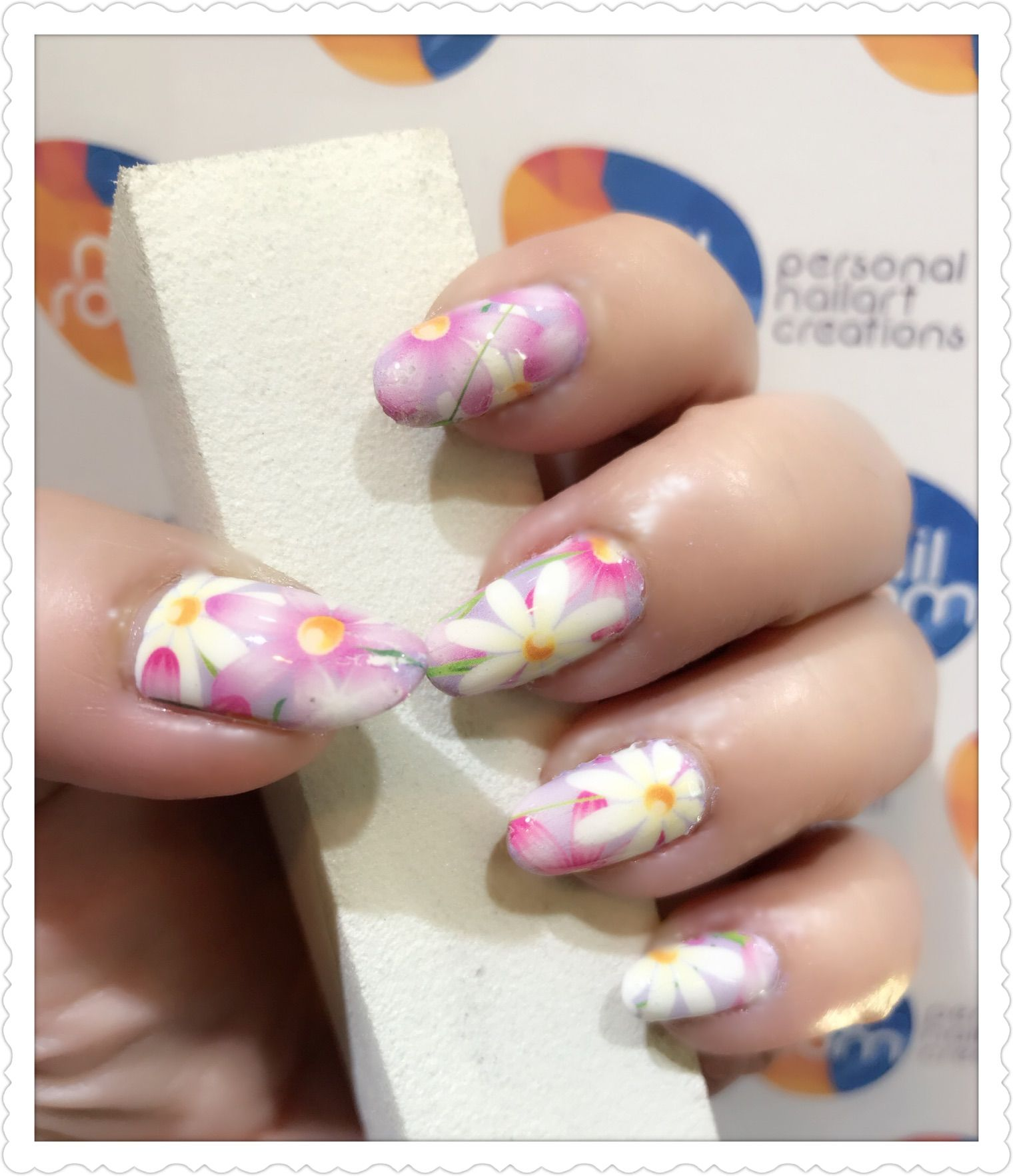 Pastel floral nailart using water decal transfer. Products used ...