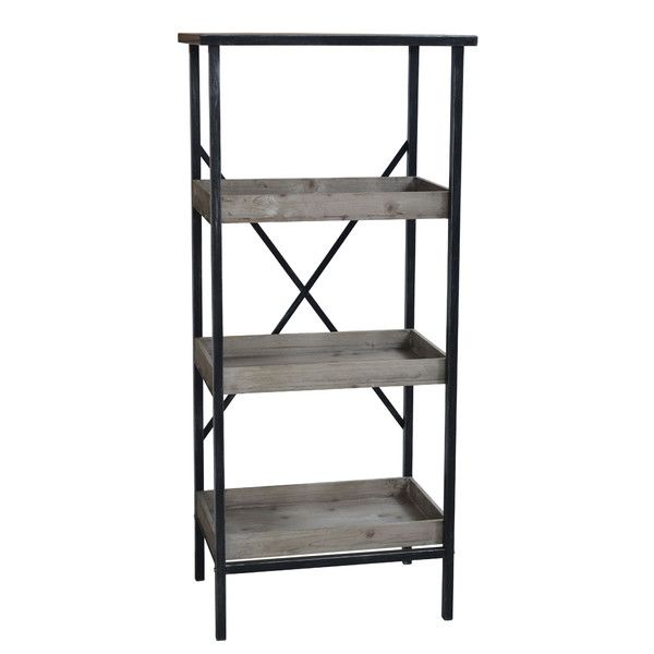 Features 3 Wooden Shelves Metal Top Product Type Etagere Style Old Contemporary Finish Gray Black Metal Storage Racks Metal Shelves Shelves