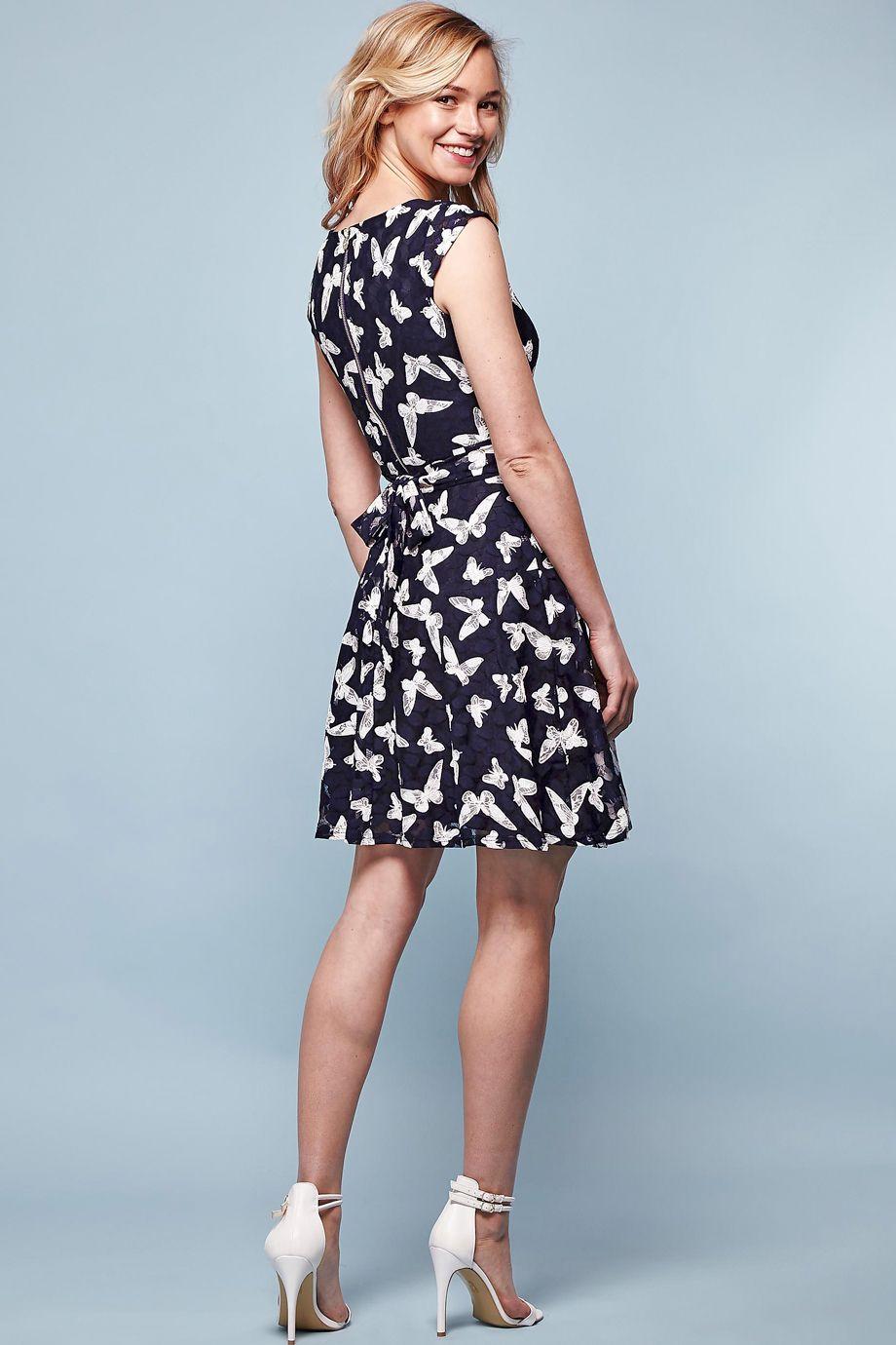 Μπλε φορεμα απο ελαστικο πουα τουλι με print πεταλουδες & δεσιμο ...