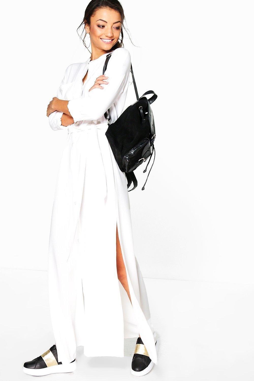 bbdd99adb35f boohoo Sadia Woven Split Side Maxi Shirt Dress cream | Women's ...