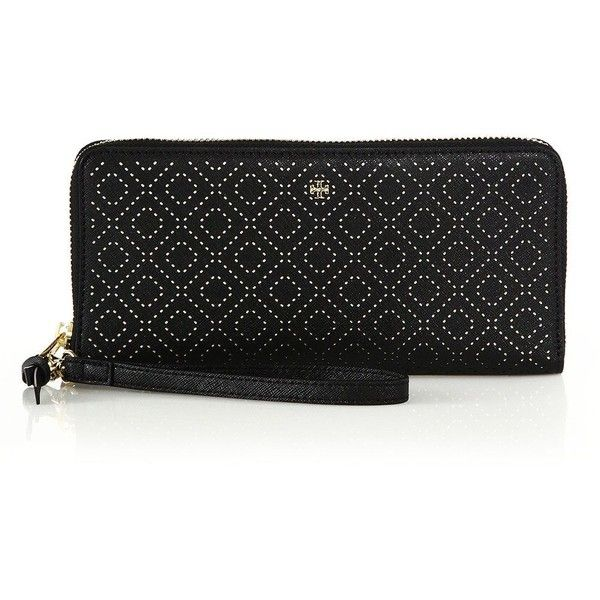 Tory Burch Robinson Stitched Leather Wristlet Wallet (£175) ❤ liked on Polyvore featuring bags, wallets, apparel & accessories, black, credit card holder wallet, tory burch wallet, black leather wristlet, black wristlet and leather wristlet