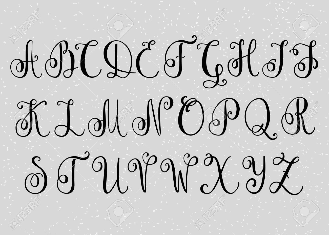 Handwritten brush flourish font capital letters