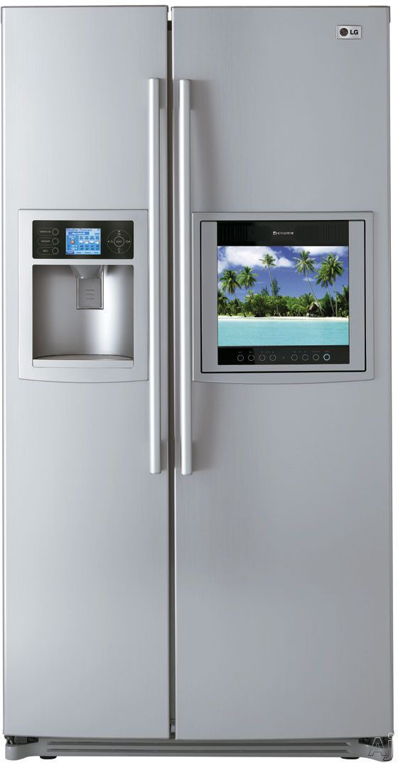Lg Lsc27990tt 26 2 Cu Ft Side By Side Refrigerator With Hd Ready Lcd Tv Weatherplus Information Center Refrigerator Reviews Side By Side Refrigerator Kitchen Appliances