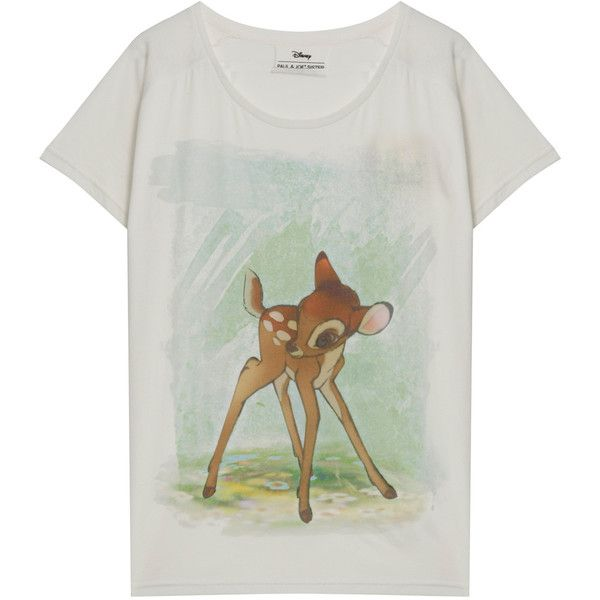 PAUL & JOE SISTER Bambi Print Ss T Shirt (€81) ❤ liked on Polyvore featuring tops, t-shirts, shirts, tees, pattern tees, scoop neck tee, pattern tops, scoop-neck tees and print shirts