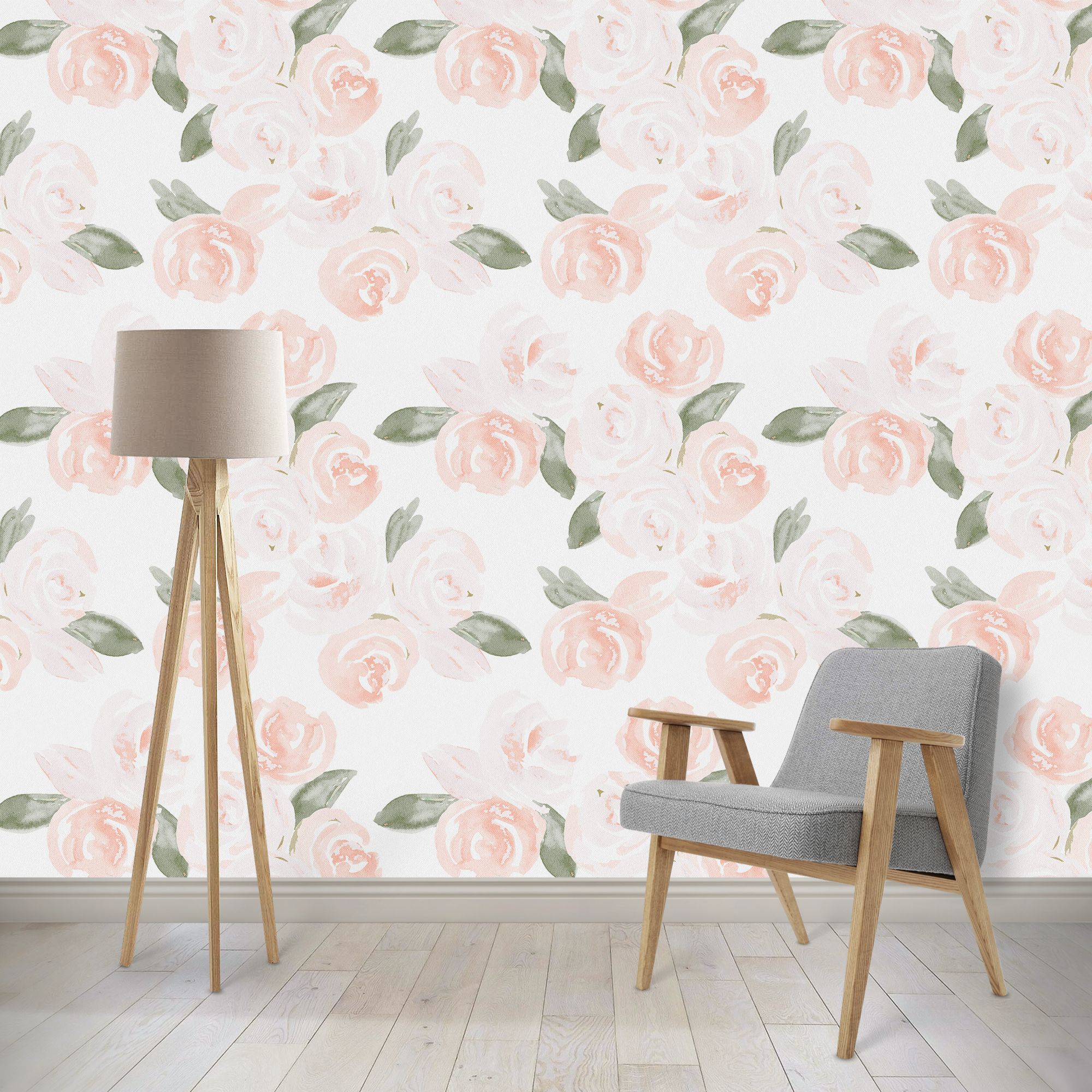 Watercolor Boho Floral Removable Wallpaper A Z Interiors