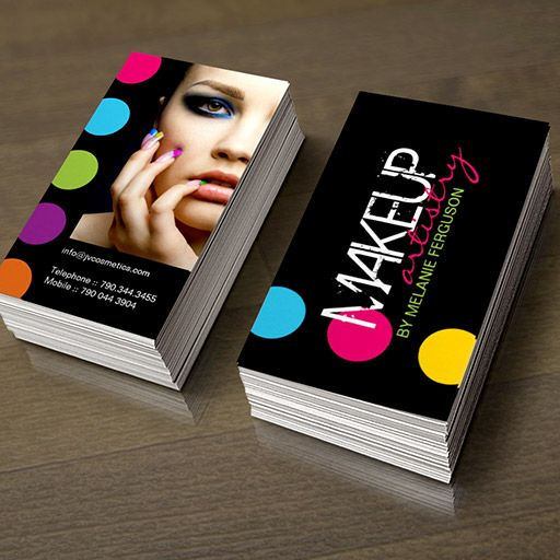 Bold and hip makeup artist business card you can customize this bold and hip makeup artist business card you can customize this card with your own text logo photo or use this pre existing template for free wajeb Images