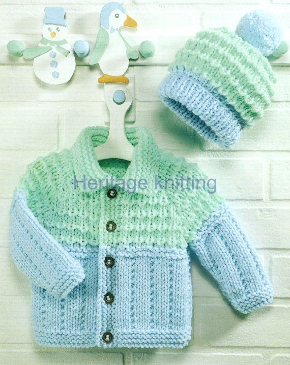 61aec2dcbddb Baby - childrens jacket and hat chunky knitting pattern 3 months to ...
