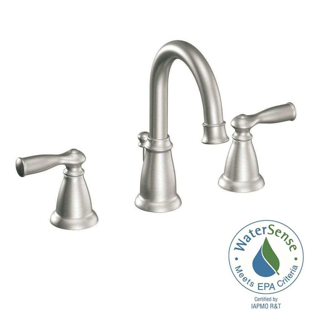 MOEN Banbury 8 in. Widespread 2-Handle High-Arc Bathroom Faucet in ...