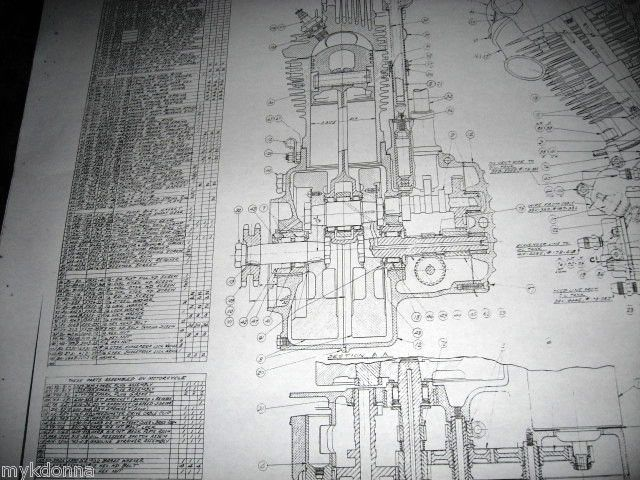 HARLEY DAVIDSON Plan Drawing Print 61ci KNUCKLEHEAD Engine BLUEPRINT - best of blueprint cafe address