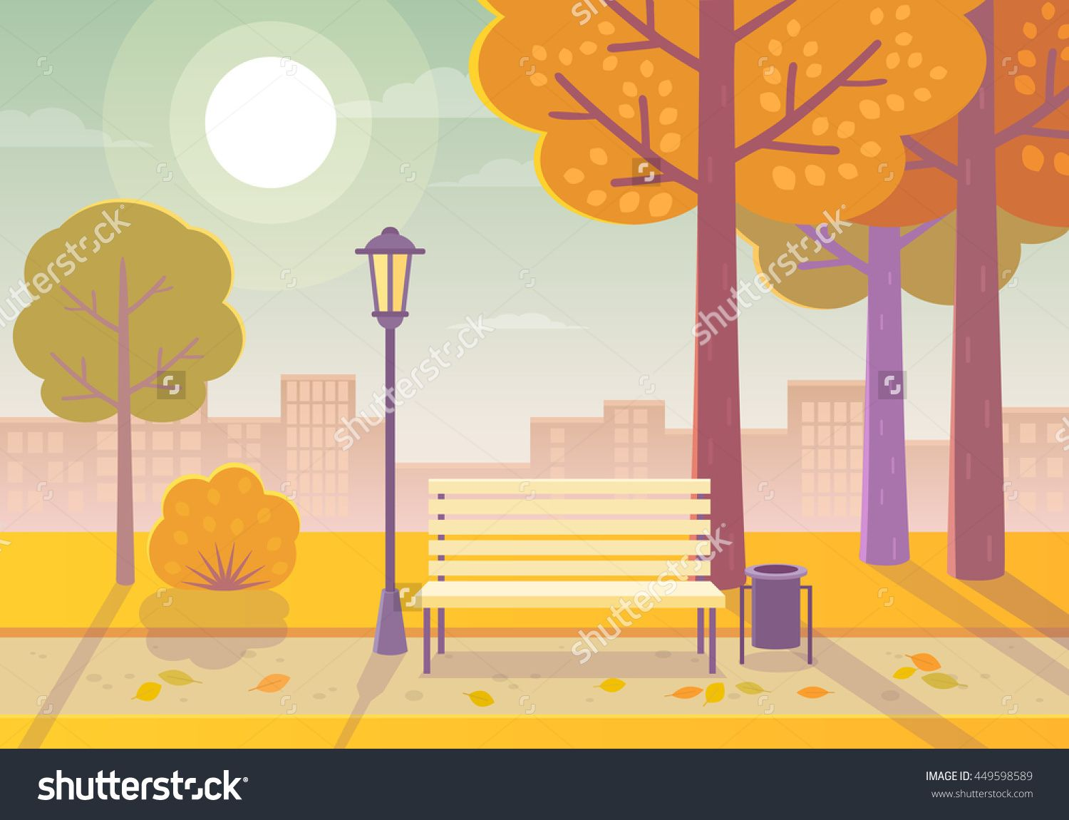 Vector Illustration Of A Beautiful Autumn City Park With Town Building…
